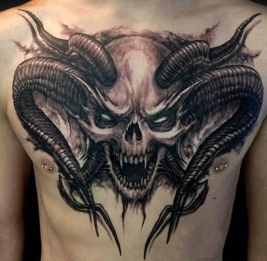 Devil Skull Tattoo On Man Chest