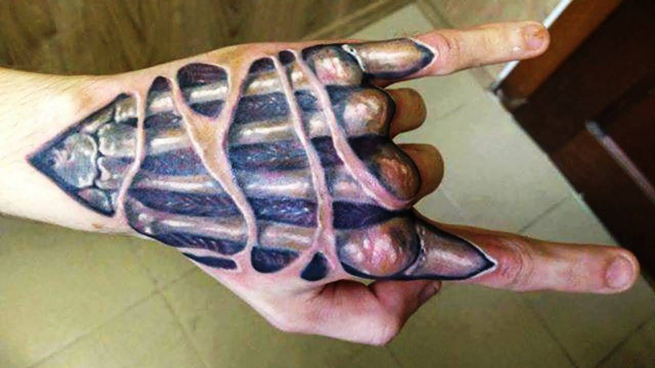 Exposed Bone Of Hand 3d Tattoo