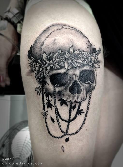Feminine Skull And Chain Tattoo