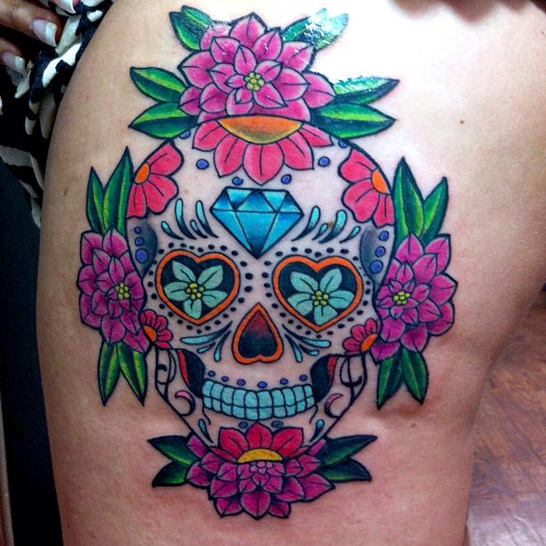 1ab07274f Flowers And Mexican Sugar Skull Tattoo On Back