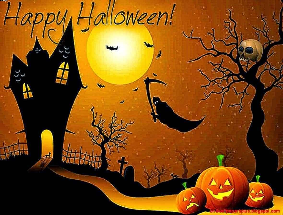 Fantastic Wallpaper Halloween Haunted - Flying-Grim-Reaper-Haunted-House-Silhouette-Orange-Pumpkins-Happy-Halloween-wallpaper  HD_207588.jpg