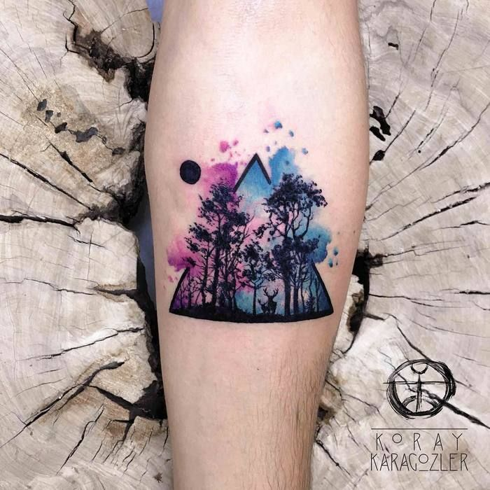 Forest View Watercolor Tattoo On Leg