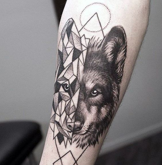 Geometric Wolf Tattoo On Forearm