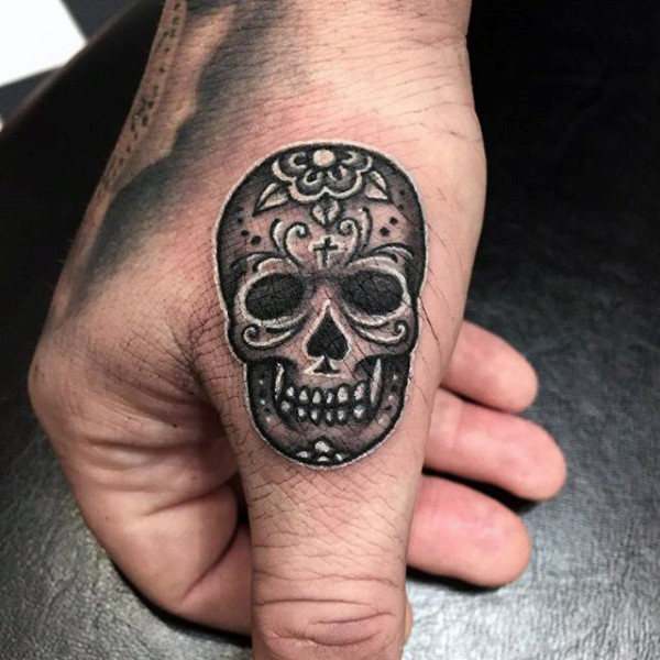 gray small sugar skull tattoo on thumb. Black Bedroom Furniture Sets. Home Design Ideas
