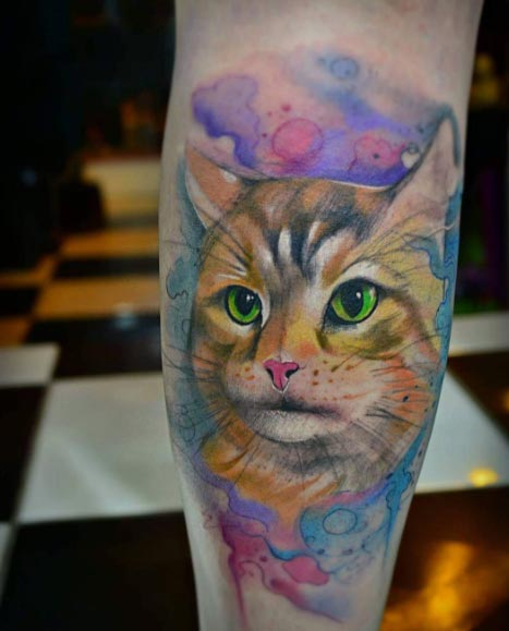 65 incredible watercolor tattoo pictures and images for Watercolor cat tattoo