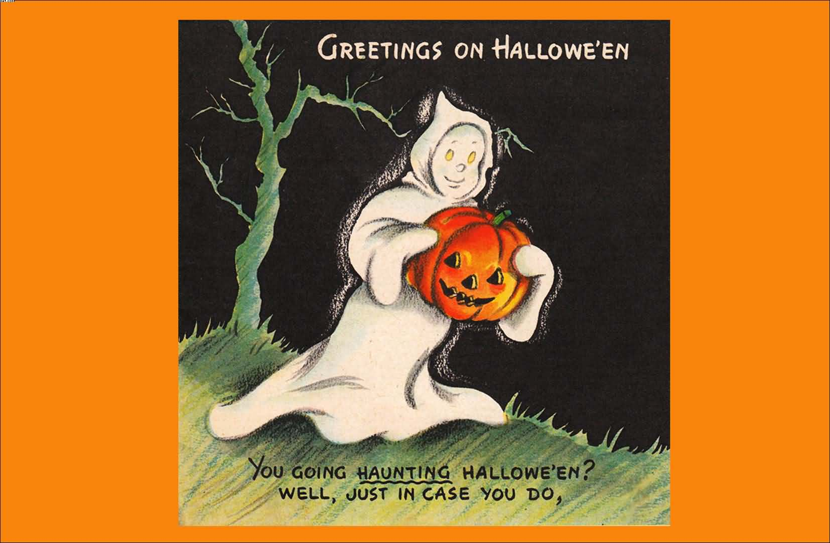 80 best halloween 2017 greeting pictures and images greetings on halloween ghost in the dark carrying a pumpkin printable card kristyandbryce Images