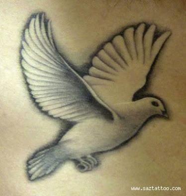 Dove Tattoo Stencil Grey Flying Dove Tatto...