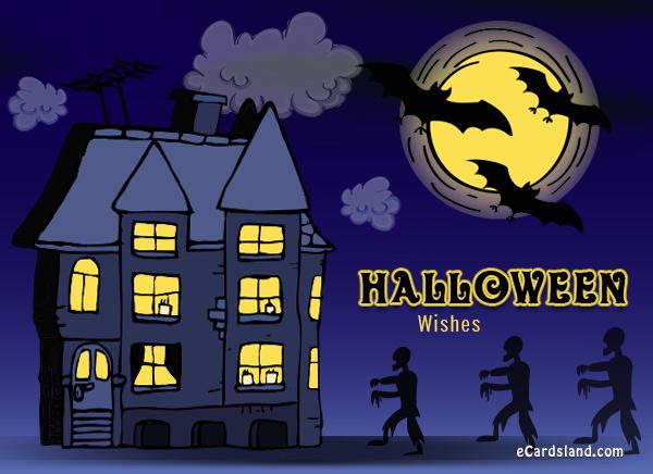 Halloween Wishes Skeleton Walking In Dark Night Picture