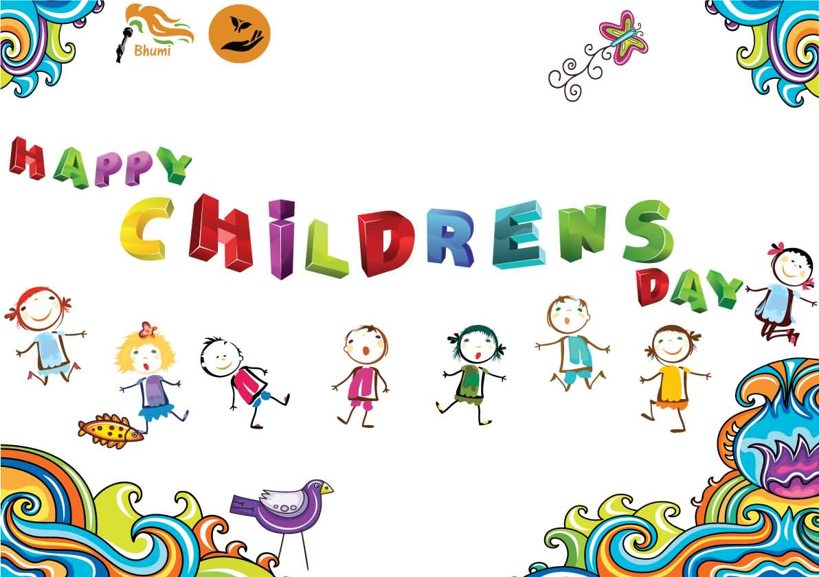 Happy Childrens Day 3d Text Greeting Card