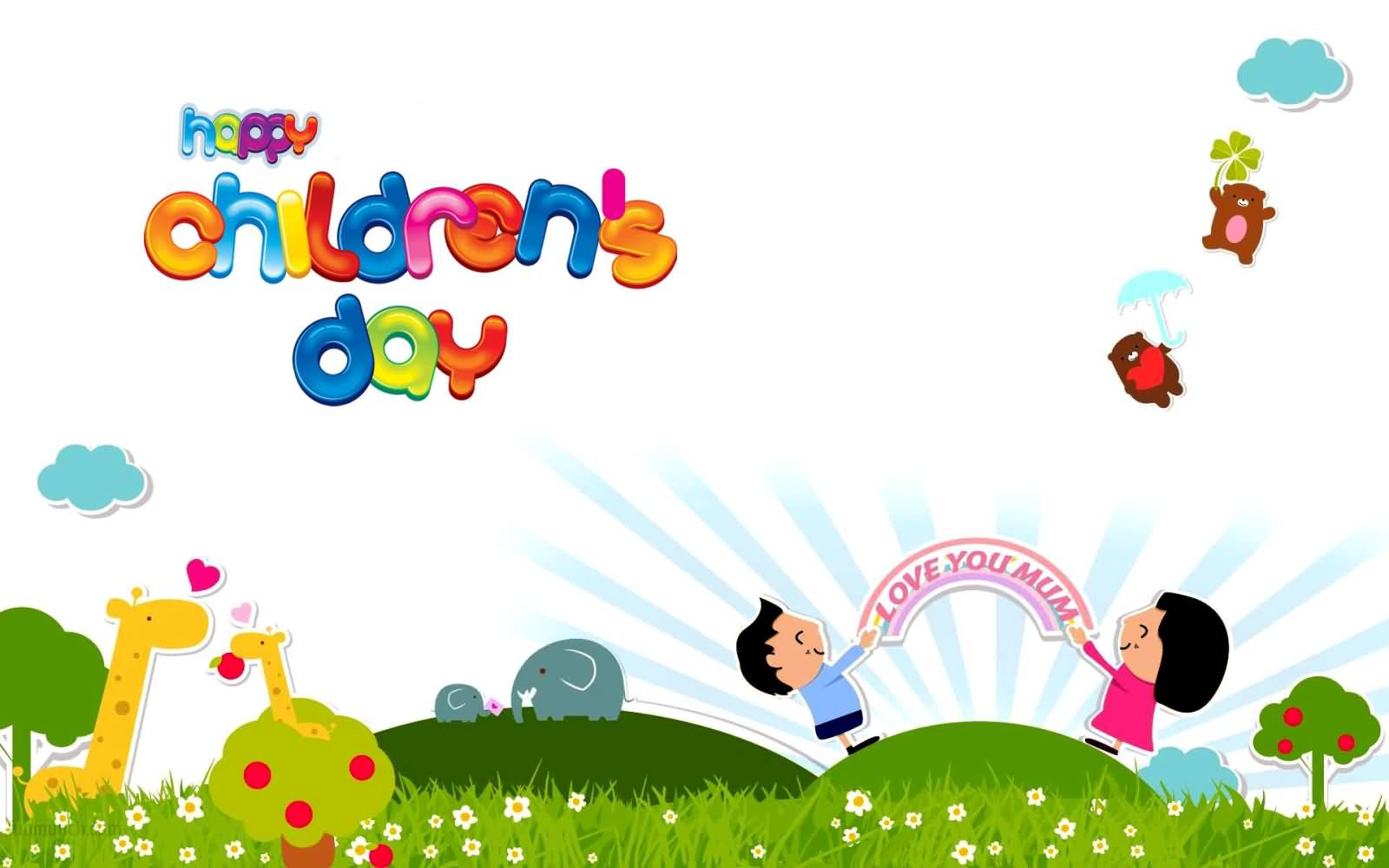 Happy Childrens Day Colourful Wallpaper