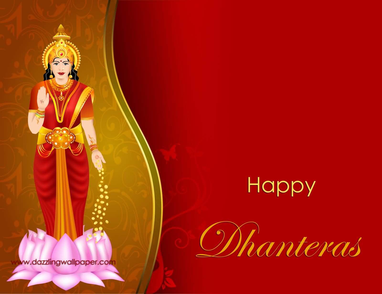 Happy dhanteras goddess lakshmi greeting card m4hsunfo