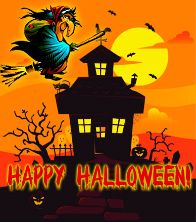 Nice Happy Halloween Funny Witch Scary House Card Images