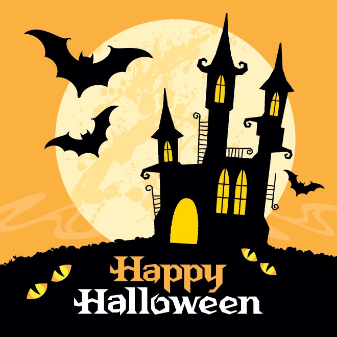 happy halloween haunted house and flying bats - Halloween Which Day