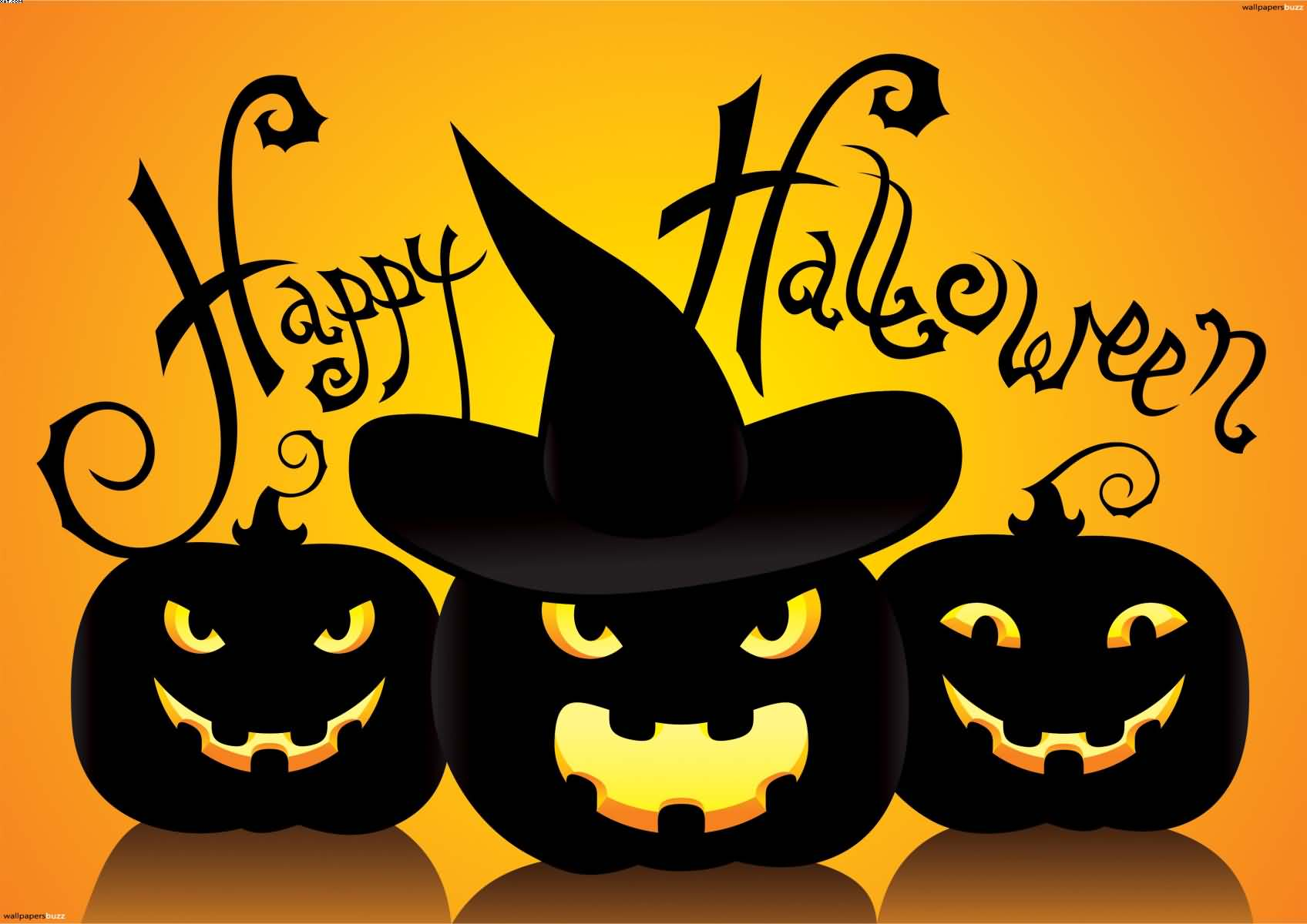 Happy Halloween Scary Black Pumpkins Wallpaper