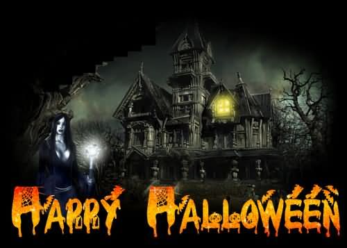 Happy Halloween scary ghosthouse and black witch picture