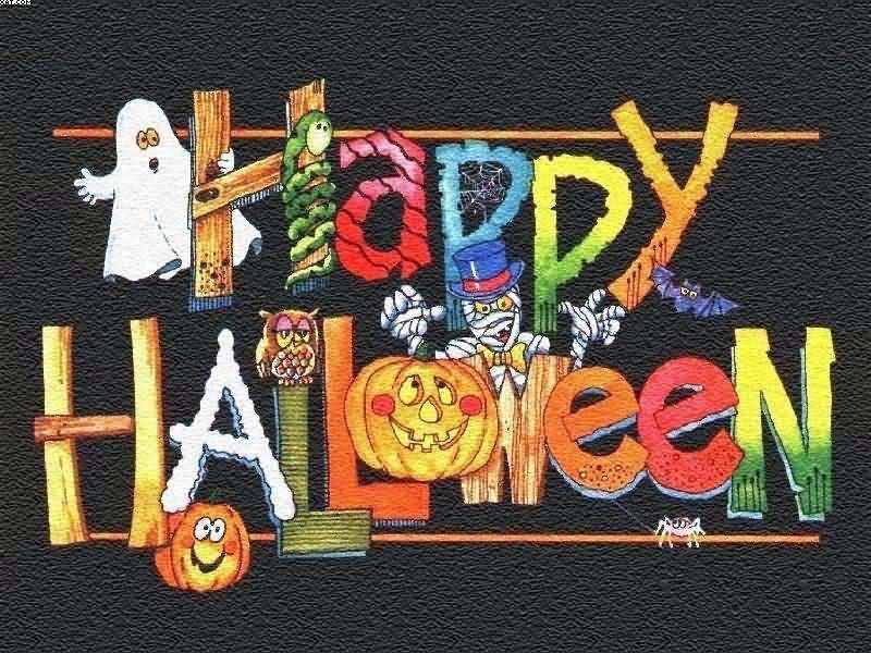 Happy Halloween Colorful Text Wishes On Black Background Image