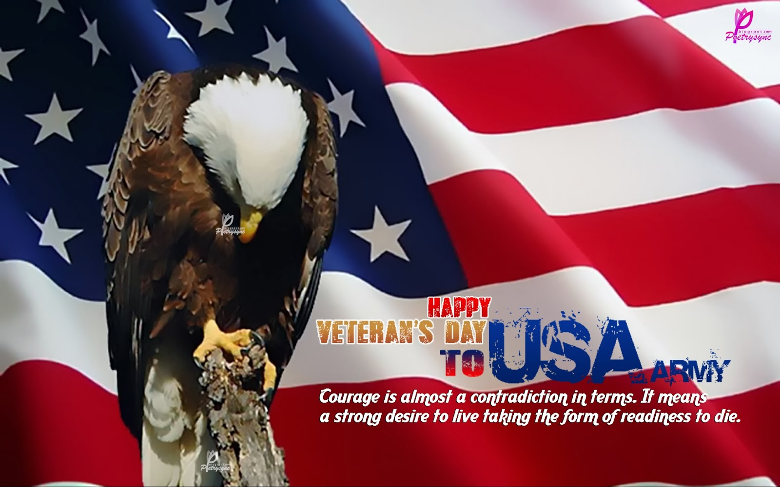 Happy Veterans Day To USA Army Weaing Flag And American Eagle Wallpaper