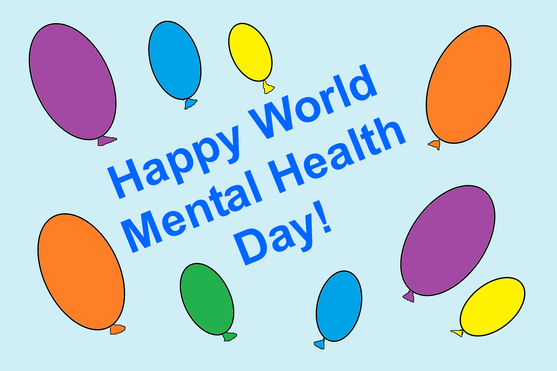 Happy World Mental Health Day Colorful Balloons