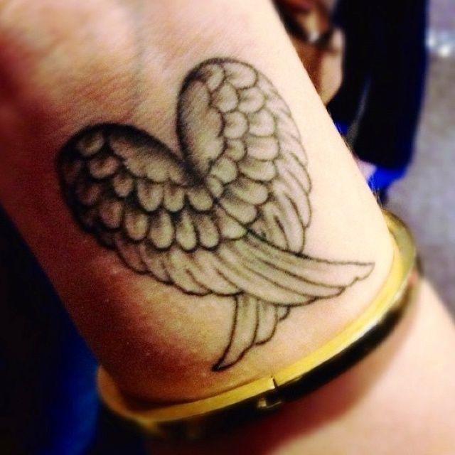 Heart Shaped Angel Wings Tattoo On Wrist