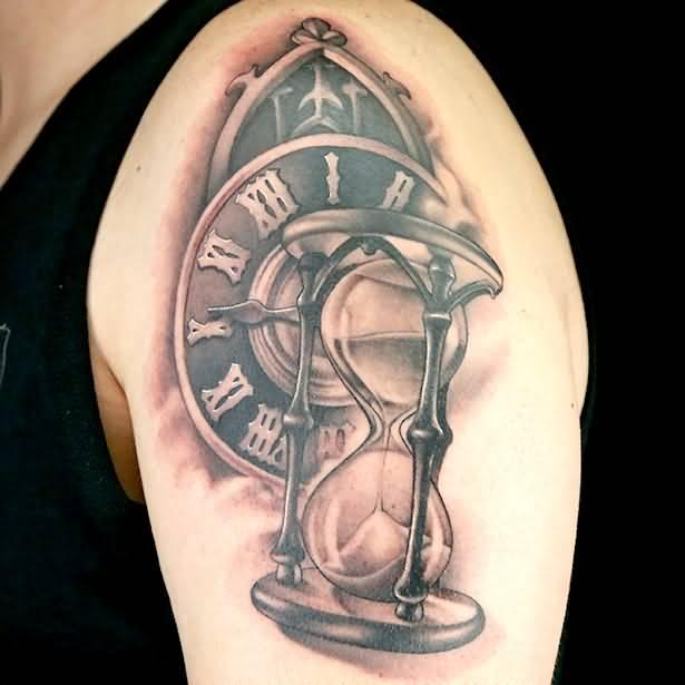 Incredible 3d Hourglass Tattoo On Half Sleeve