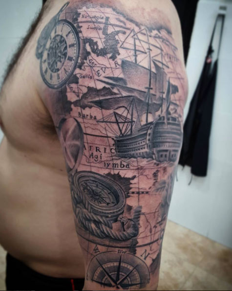 db48e7038 Incredible Nautical Themed Tattoo On Full Sleeve