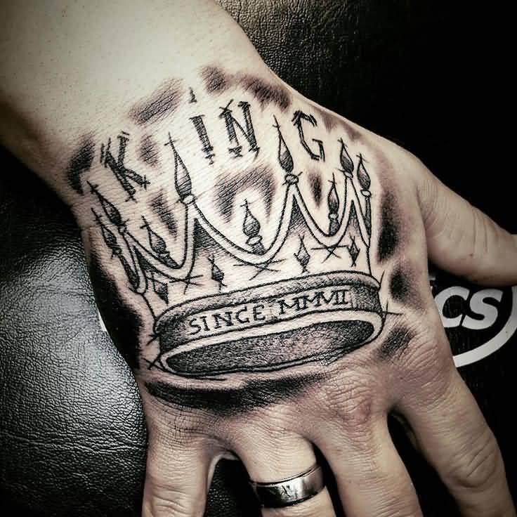 Magnificent king crown tattoo on hand for Names with crown tattoos