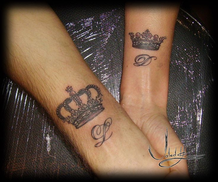 Matching Crown Tattoo On Wrists For Couples