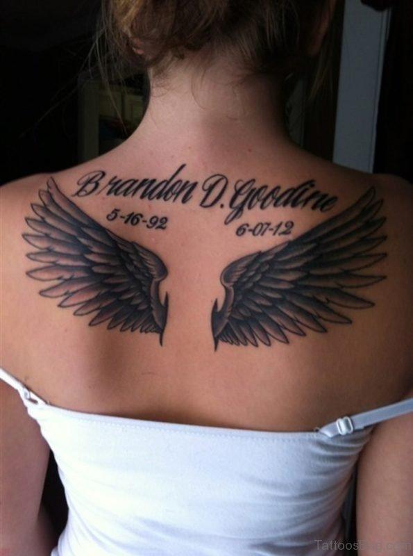 Memorial Angel Wings Tattoo On Girls back