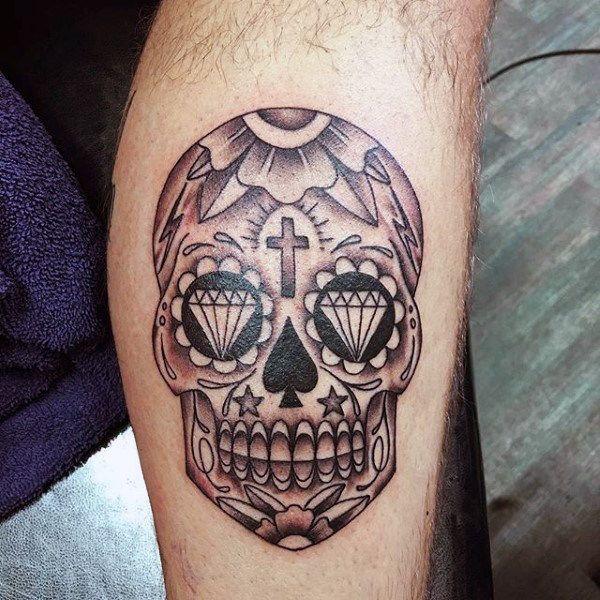 mexican sugar skull tattoo on forearm. Black Bedroom Furniture Sets. Home Design Ideas