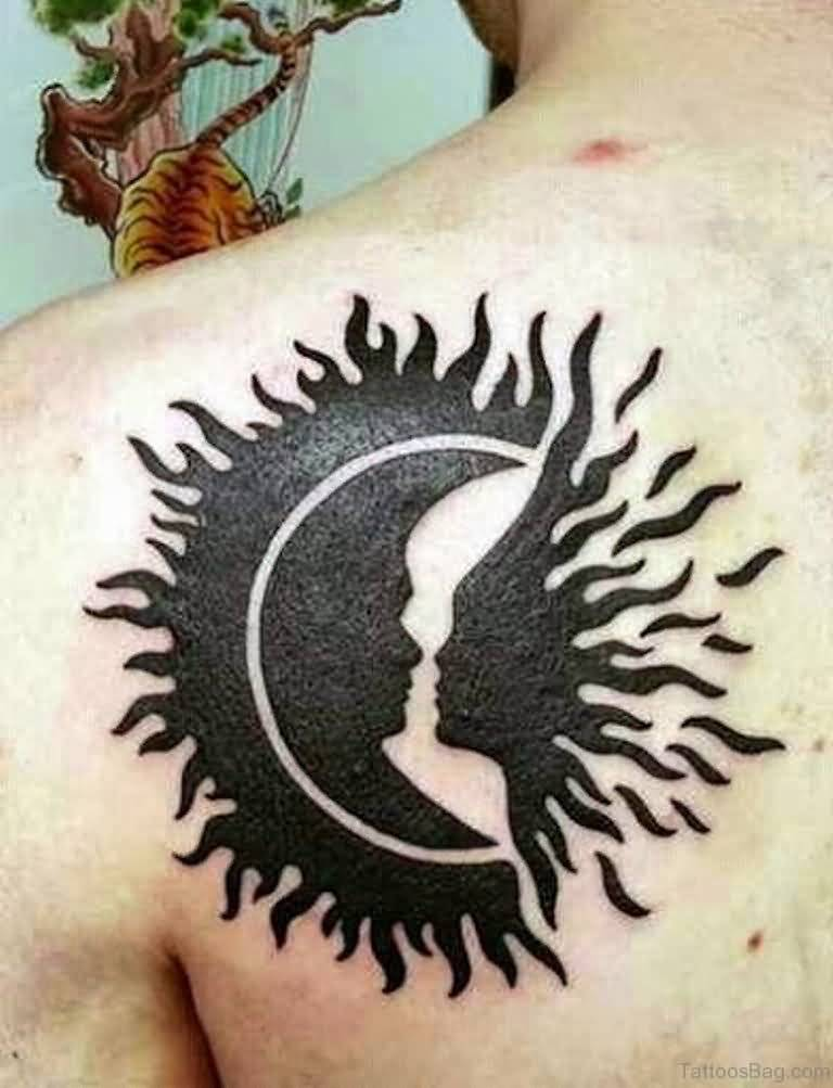 Moon And Sun Couple Tattoo On Back Shoulder