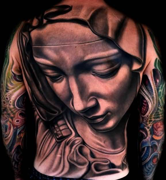 Mother Mary Face Realistic 3d Tattoo
