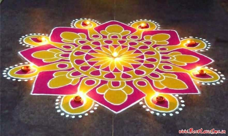 Pink And Yellow Color Rangoli Design For Diwali Decoration