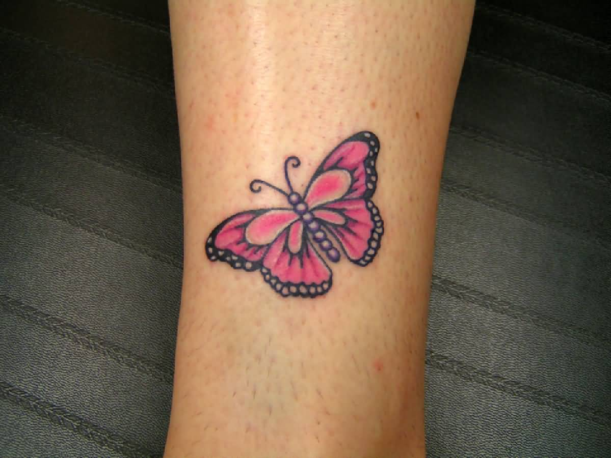 b50bd05325abc Pink Small Butterfly Tattoo On Leg