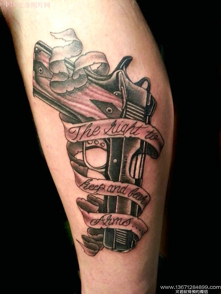 50 most amazing pistol tattoo design pictures for Pink gun tattoo