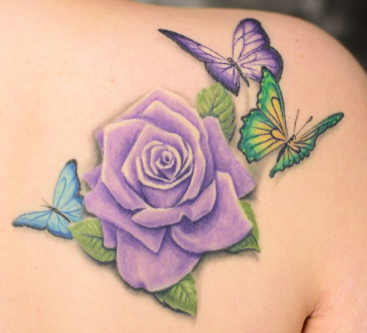 Tattoo Parents Quote Signatures Roses Red Purple Love: Purple Rose Flower And Three Butterflies Tattoo Design Idea