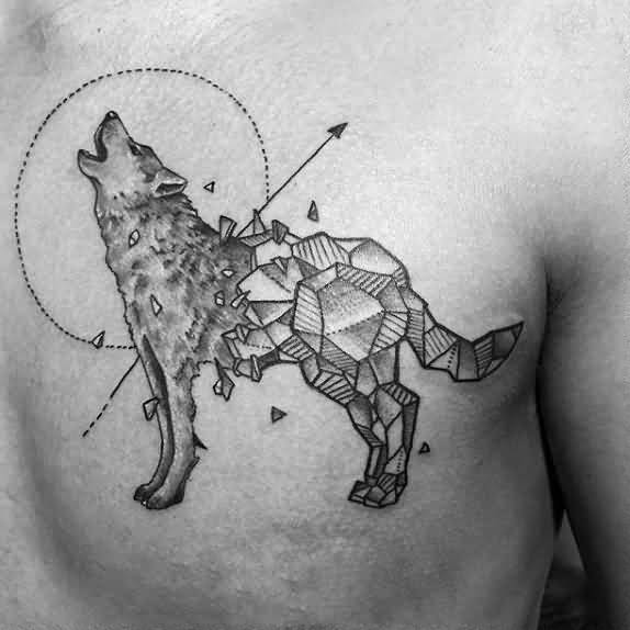 Shattered Rock Geometric Wolf Tattoo On Upper Chest