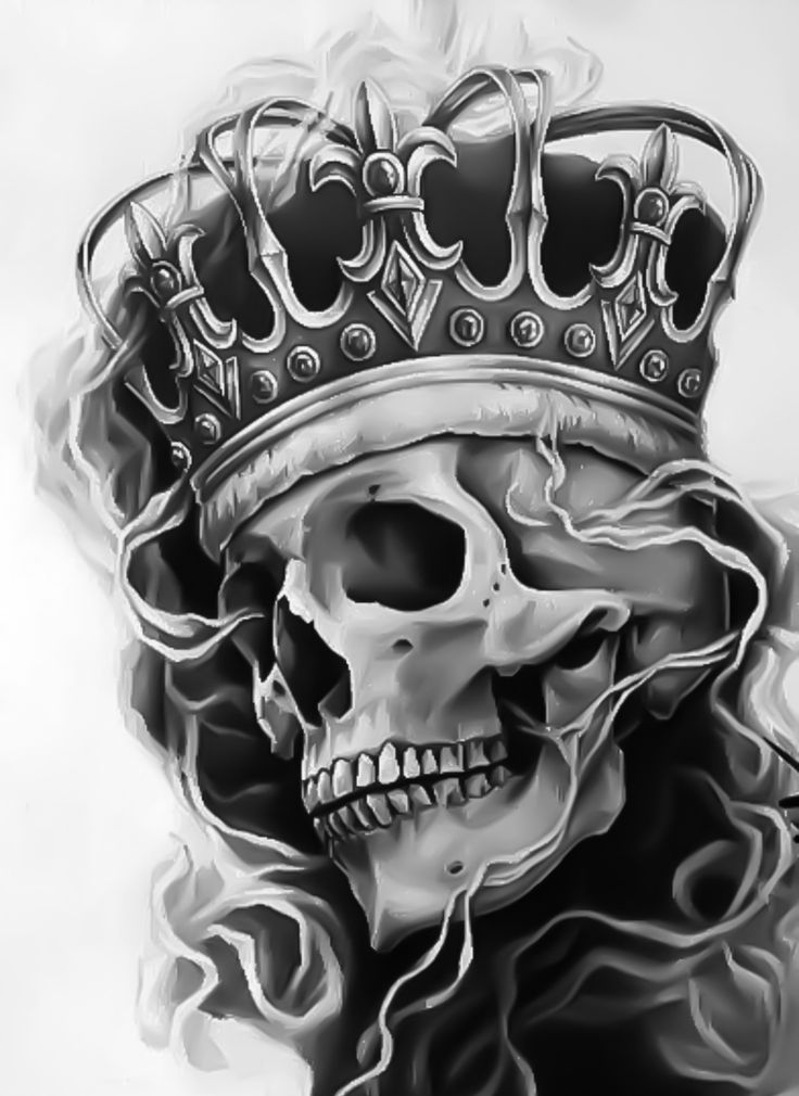 skull with crown tattoo design idea