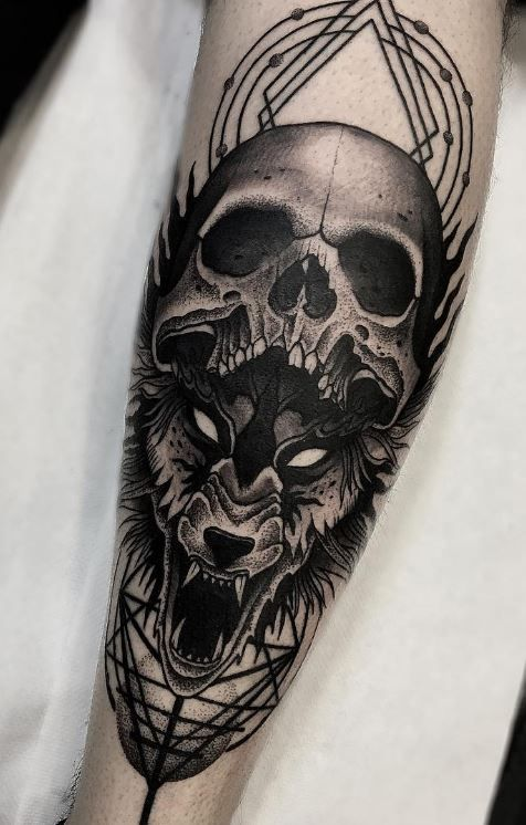 skull and wolf tattoo on leg. Black Bedroom Furniture Sets. Home Design Ideas