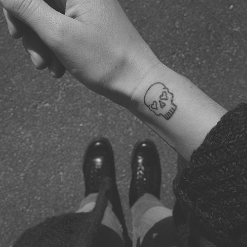 7f784ece6 Small Minimal Skull Tattoo On Wrist