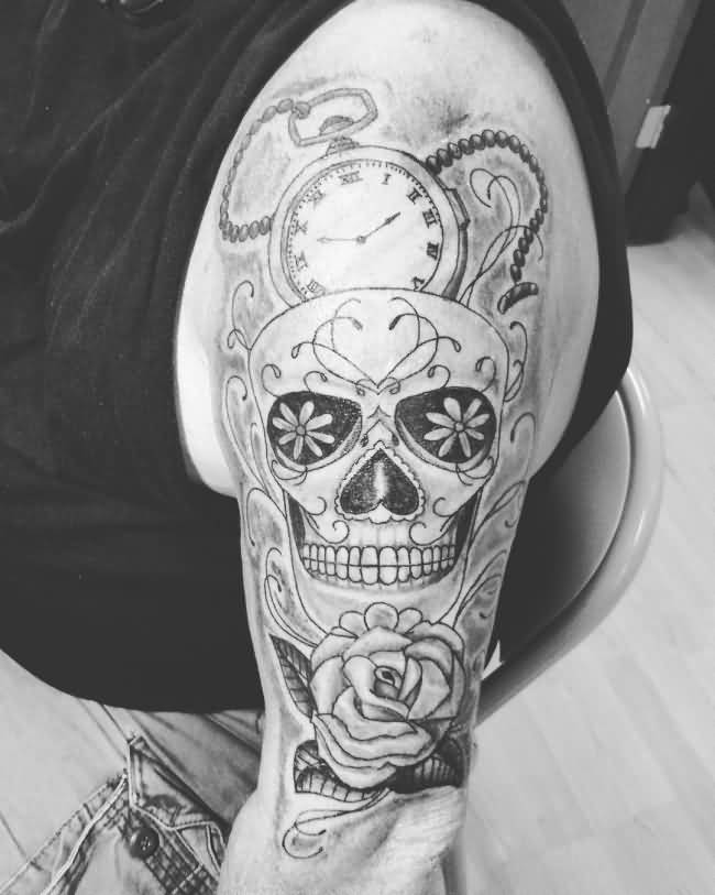 sugar skull with pocket watch and rose flower tattoo