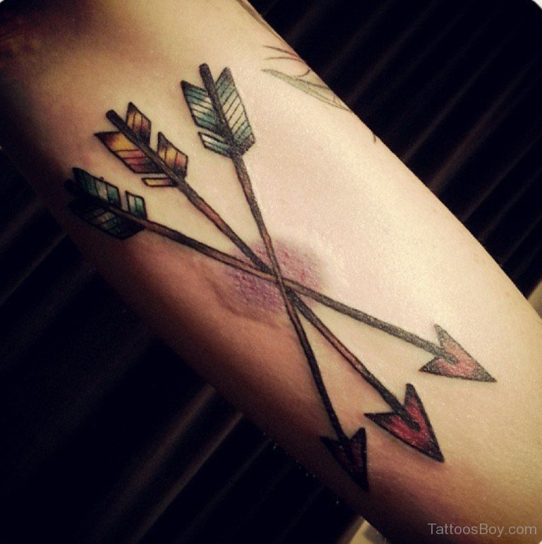 61 adorable arrow tattoo design ideas for Crossed arrow tattoo