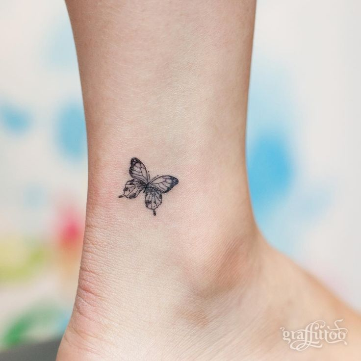 tiny butterfly tattoo on ankle. Black Bedroom Furniture Sets. Home Design Ideas