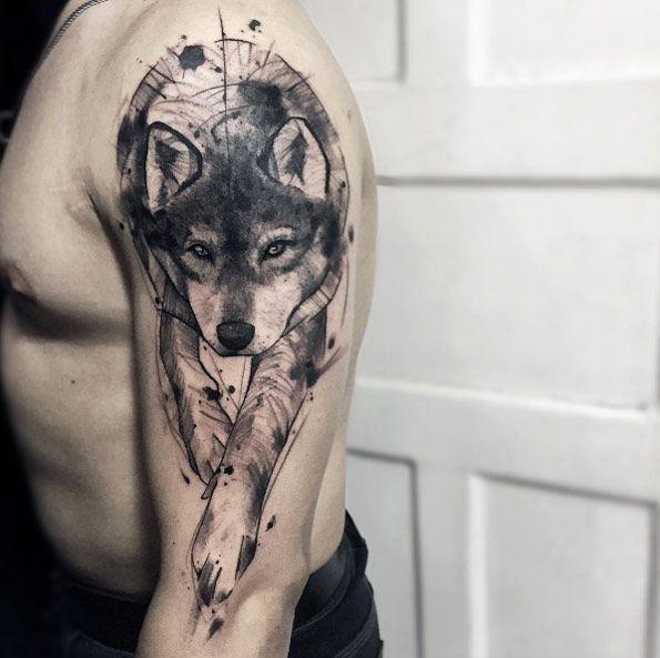 walking wolf tattoo on shoulder. Black Bedroom Furniture Sets. Home Design Ideas