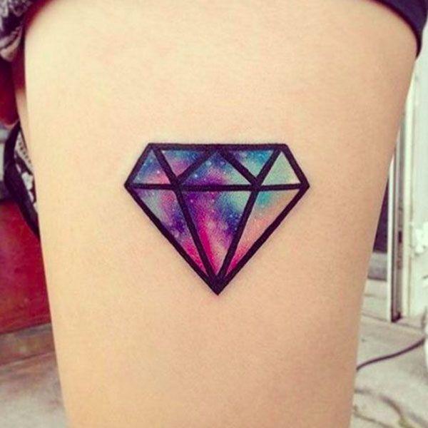 watercolor diamond tattoo on thigh