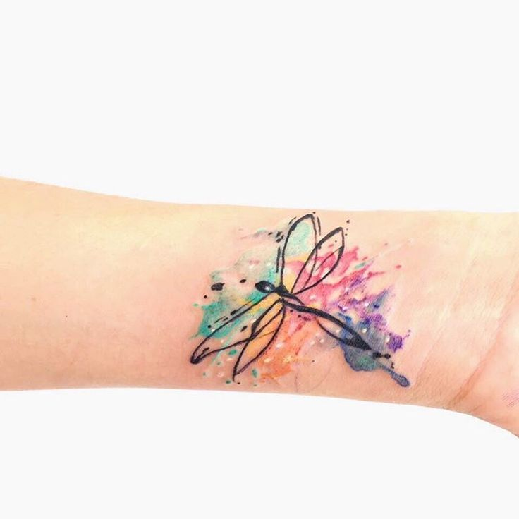 watercolor dragonfly tattoo on wrist. Black Bedroom Furniture Sets. Home Design Ideas