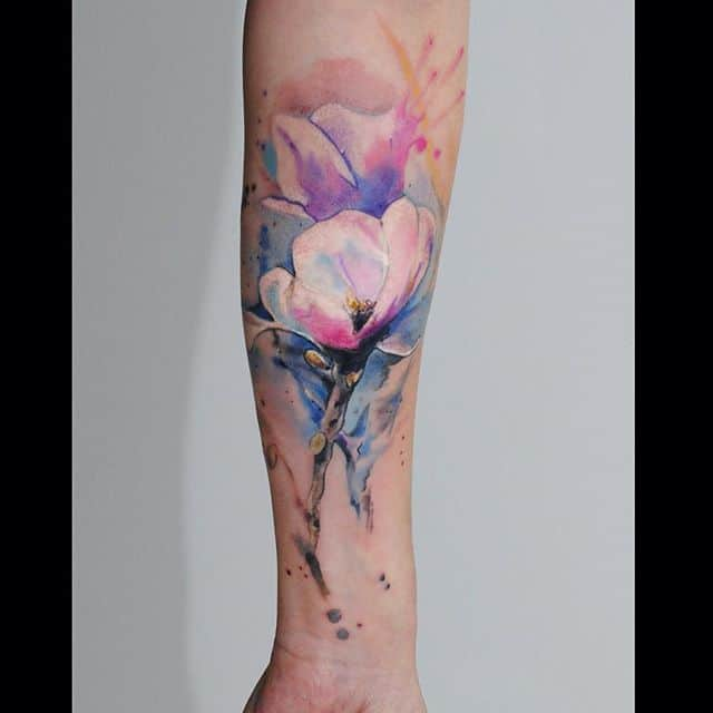10 Floral Tattoo Artists You Could Trust Your Skin To: Watercolor Flower Tattoo On Forearm