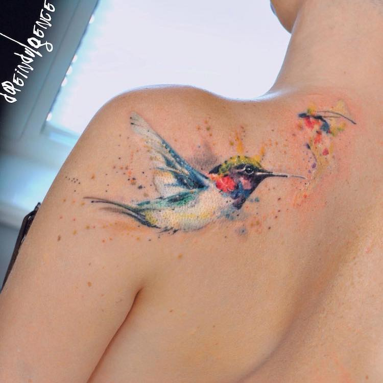 21f1f9081cadc Watercolor Hummingbird Tattoo On back shoulder