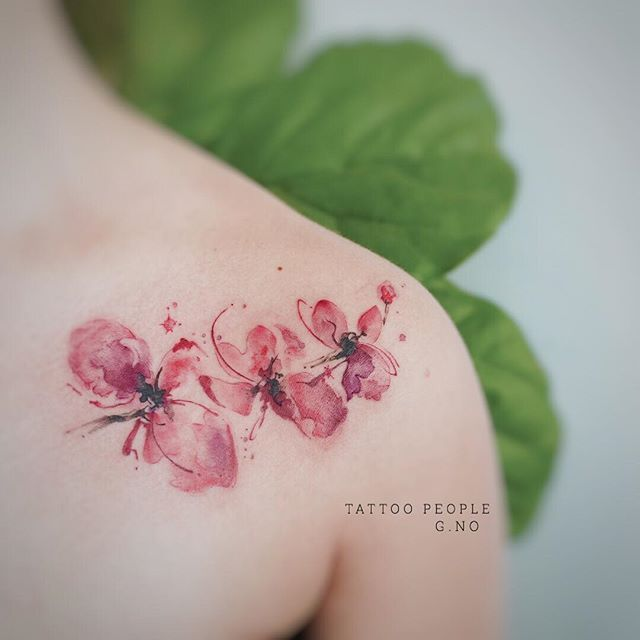 Watercolor Orchid Tattoo On Shoulder