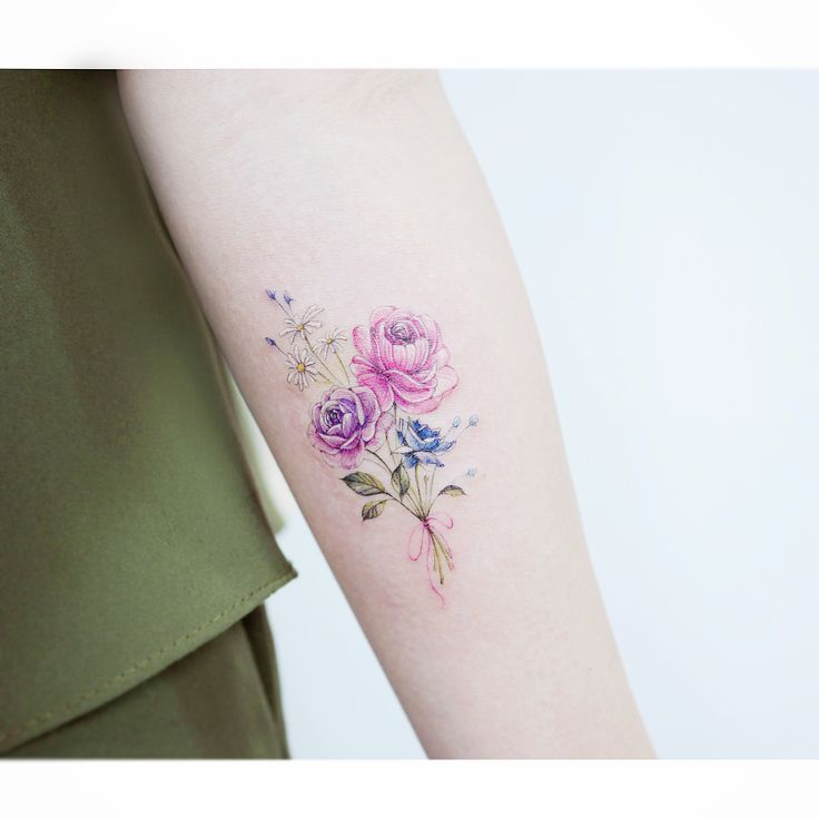 Watercolor Rose Flowers Tattoo On Forearm