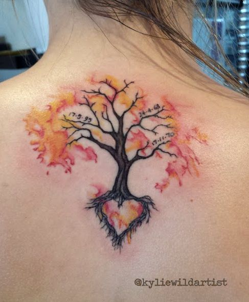 Watercolor tree tattoo on girls back for Tree of life watercolor tattoo